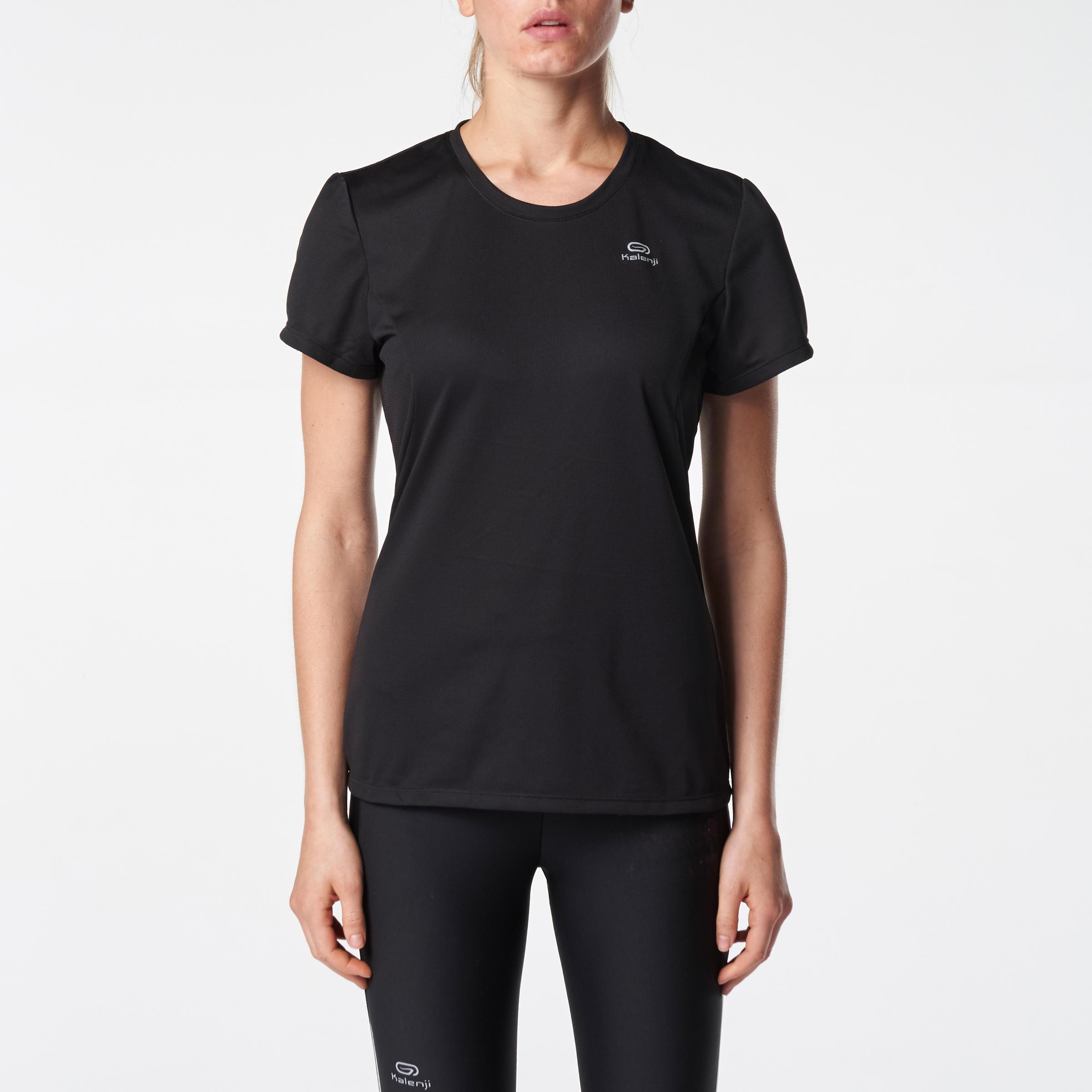 RUN DRY WOMEN'S JOGGING T-SHIRT - BLACK