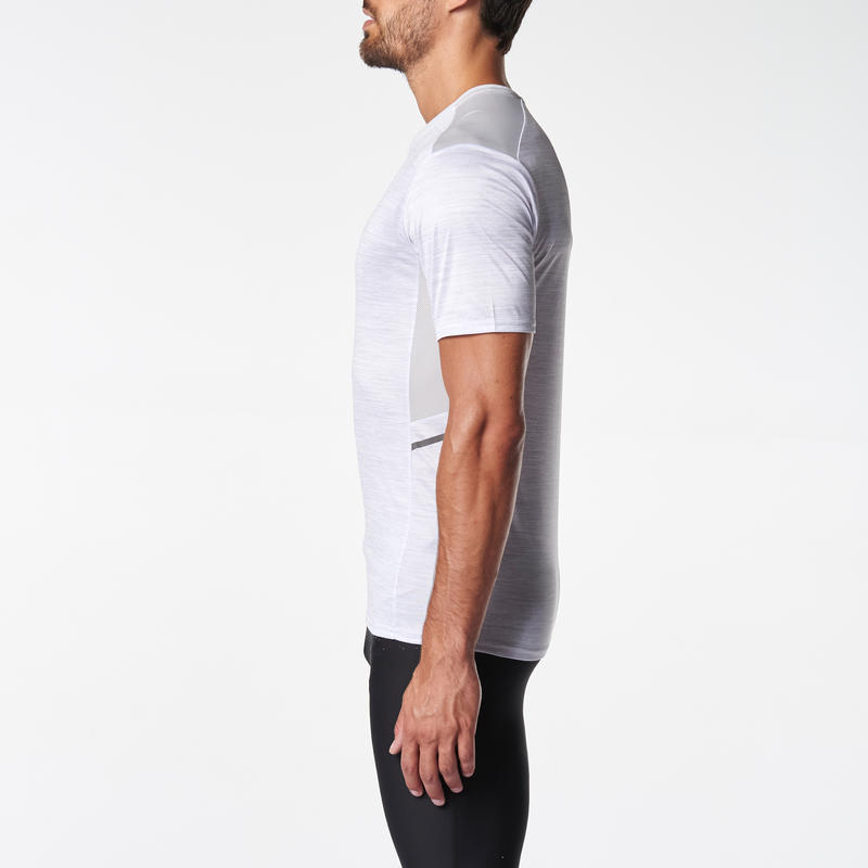 RUN DRY+ MEN'S RUNNING T-SHIRT WHITE PRINT