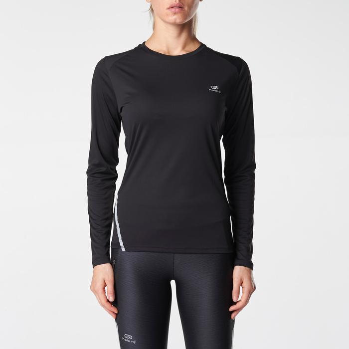 Hardloopshirt met lange mouwen voor dames Run Sun Protect zwart
