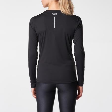 Women's Running Long-Sleeved T-Shirt Run Sun Protect - black