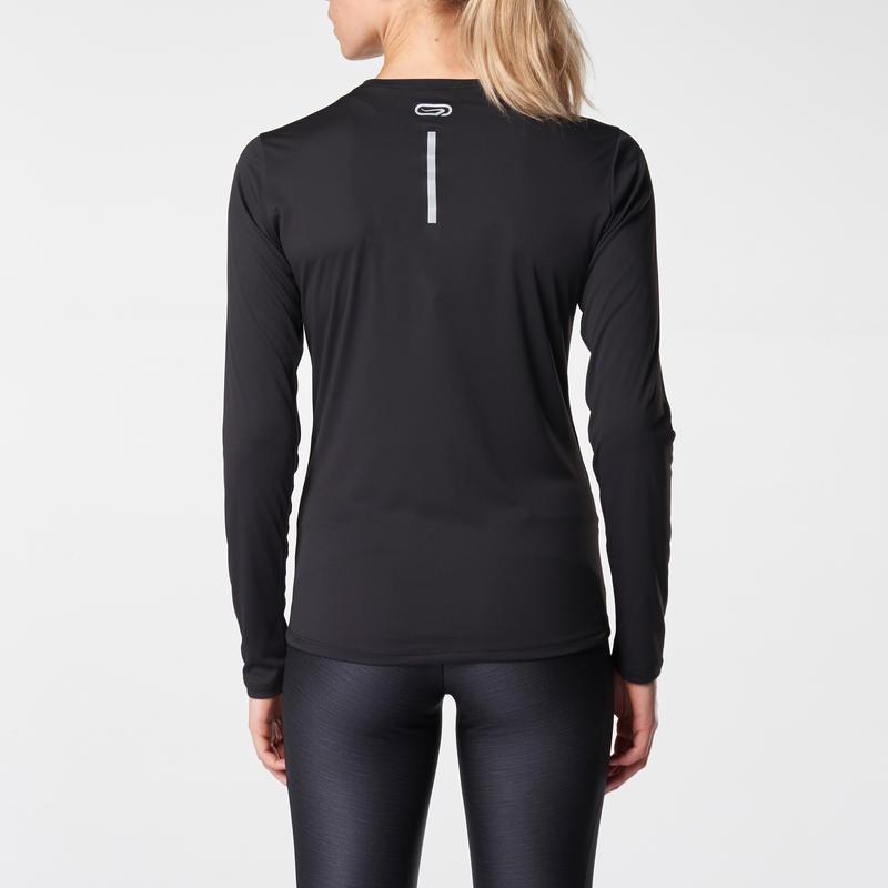 Run Sun Protect Women's Jogging Long-Sleeved T-Shirt - Black