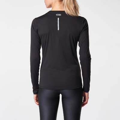 Women's Jogging Long-Sleeved T-Shirt Run Sun Protect - Black