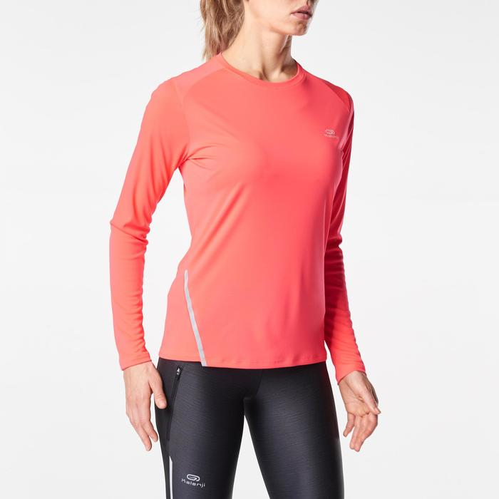 Laufshirt langarm Run Sun Protect Damen korallenrot