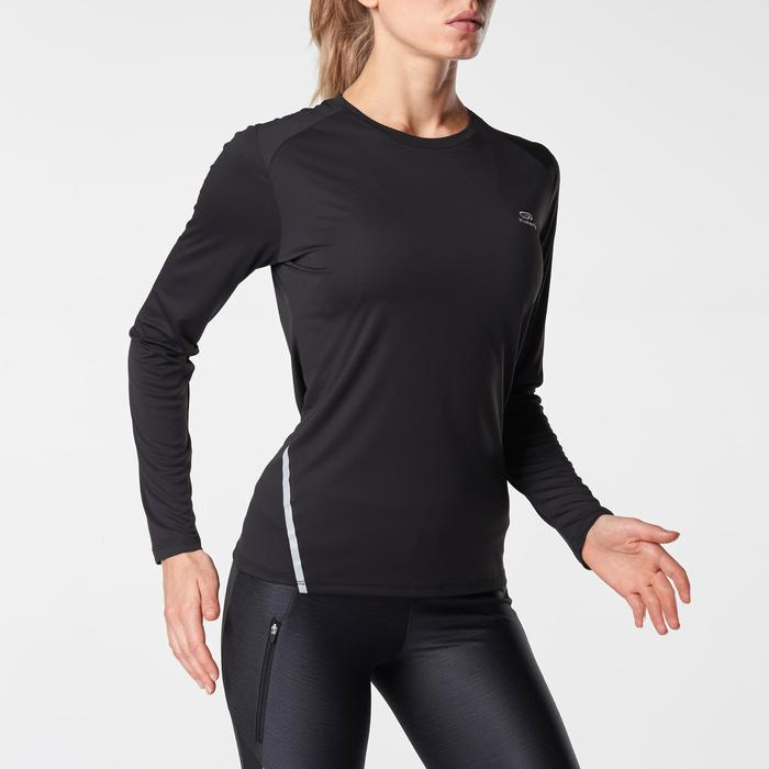 CAMISETA MANGAS LARGAS DE RUNNING MUJER RUN SUN PROTECT NEGRA