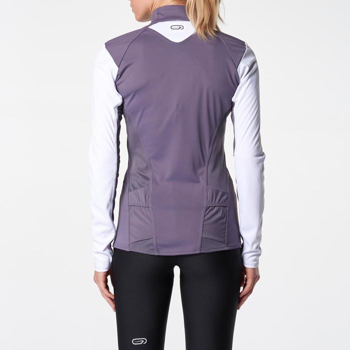 Tee shirt manches longues trail running blanc jaune femme - 1075841