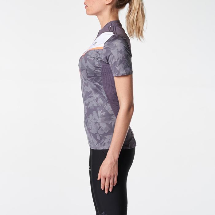 T-shirt met korte mouwen trail dames grijs/paarsachtig/wit