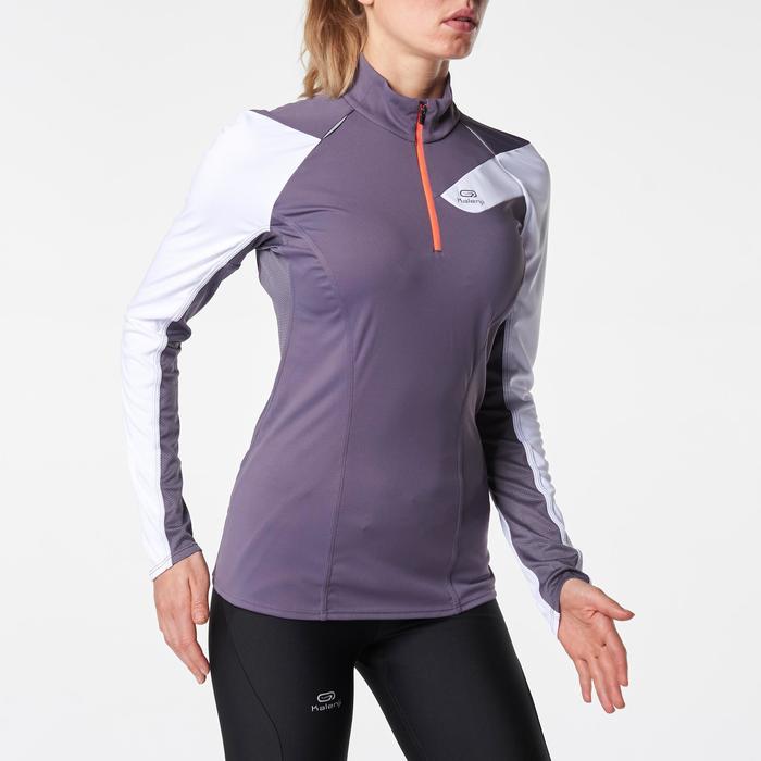 Tee shirt manches longues trail running blanc jaune femme - 1075860