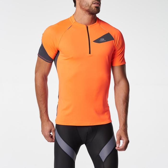 Tee shirt manches courtes trail running gris jaune homme - 1075899