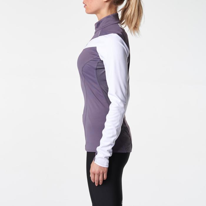 Tee shirt manches longues trail running blanc jaune femme - 1075915