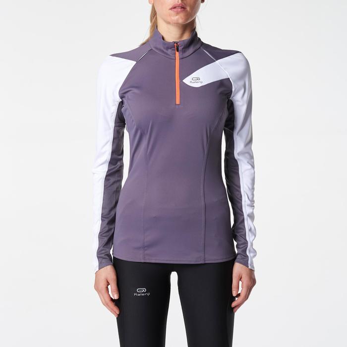 Tee shirt manches longues trail running blanc jaune femme - 1075919