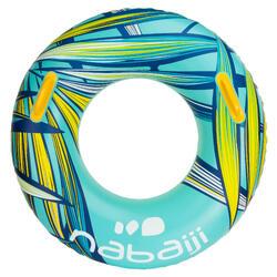 Grote blauwe zwemband, 92 cm, met handgrepen voor meer comfort