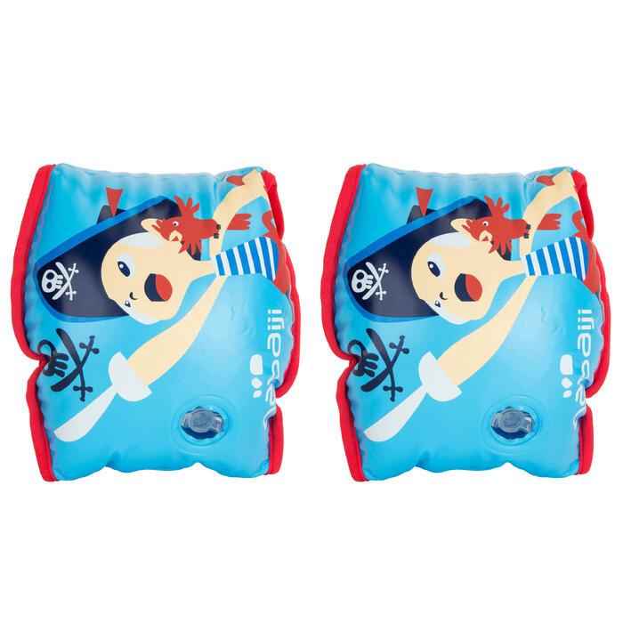 Zwembandjes blauw print 'Piraat' binnenkant stof kinderen 15 -30 kg