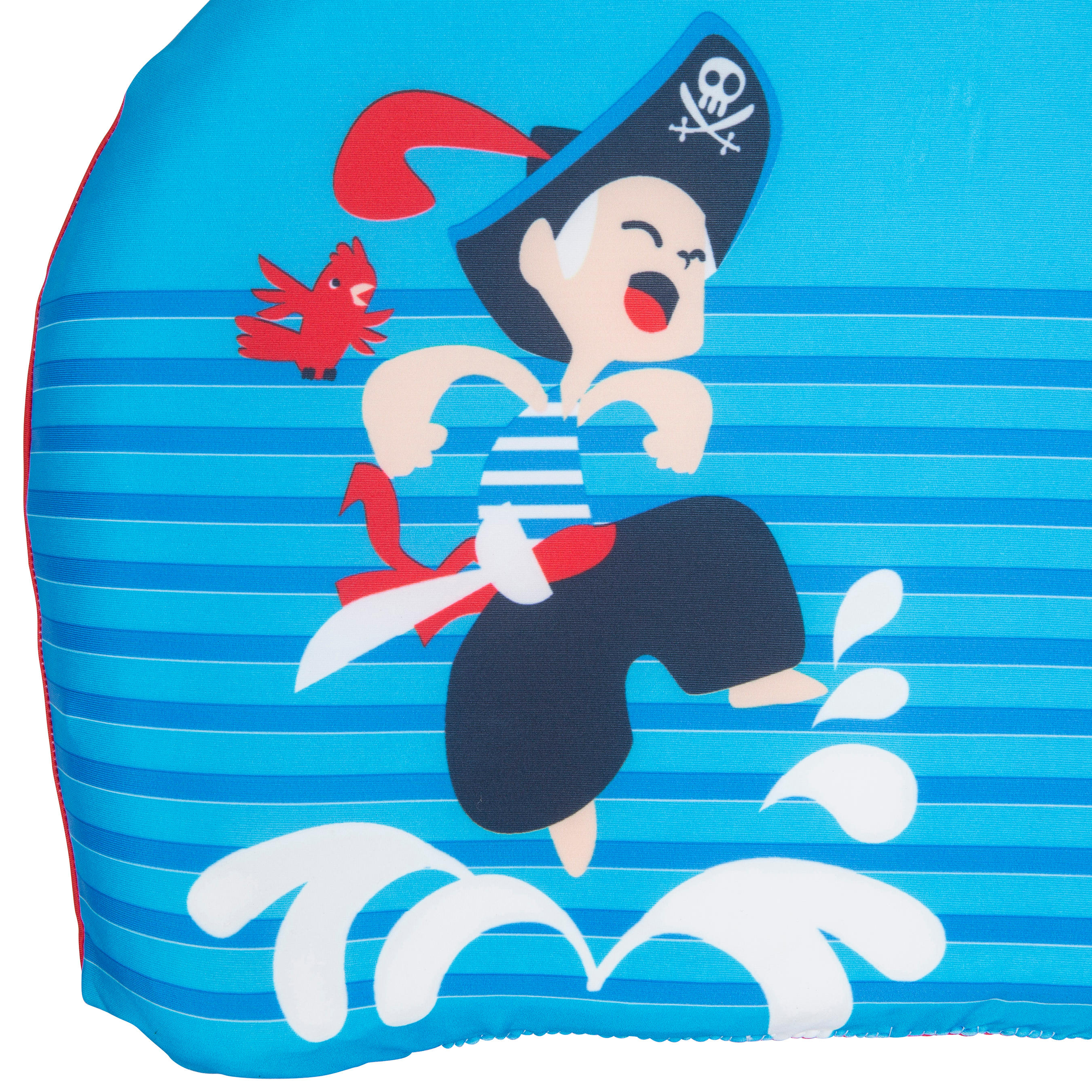 Blue child's swimming board with _QUOTE_PIRATE_QUOTE_ print