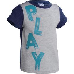 Peuter T-shirt met korte mouwen en opdruk voor gym grijs