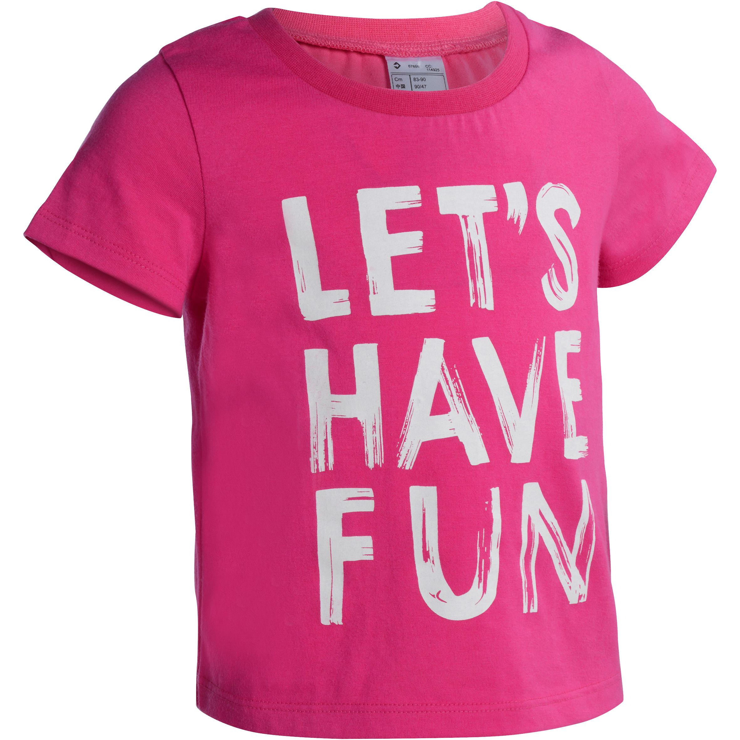 Camiseta de manga corta estampada gimnasia infantil rosa