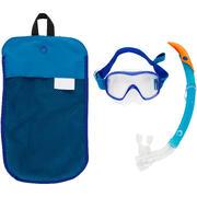 Kit máscara tubo de snorkel 520 adulto azul turquesa