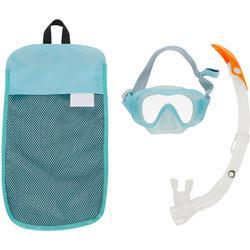 Kit máscara tubo de snorkel SNK 520 adulto verde claro gris