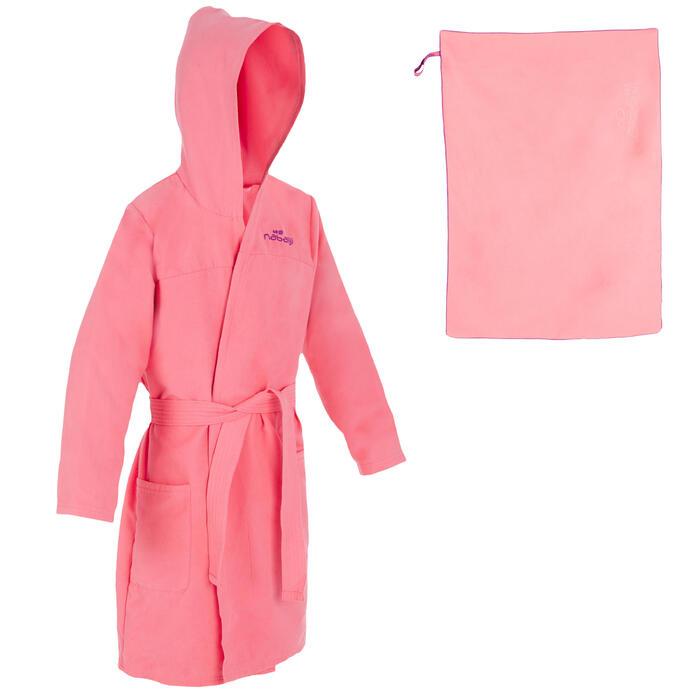 Pack de albornoz y toalla de microfibra, talla L (80 x 130cm) rosa niña