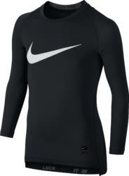 T-shirt lange mouwen fitness jongens Nike pro zwart