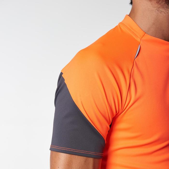 Tee shirt manches courtes trail running gris jaune homme - 1078477