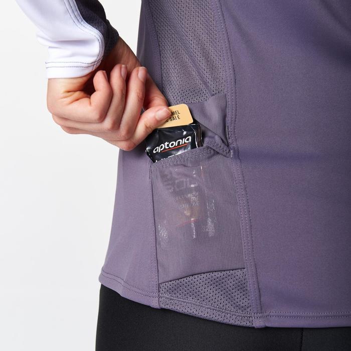 Tee shirt manches longues trail running blanc jaune femme - 1078483