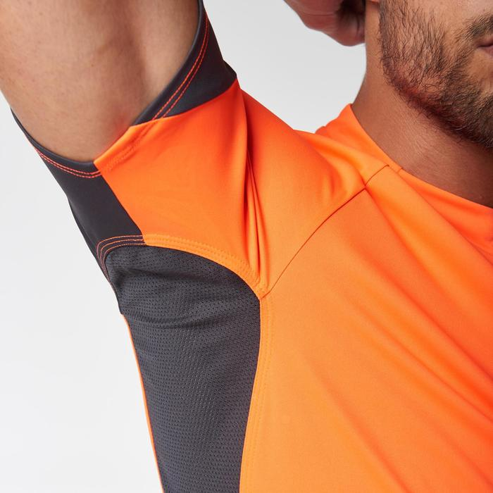 Tee shirt manches courtes trail running gris jaune homme - 1078505