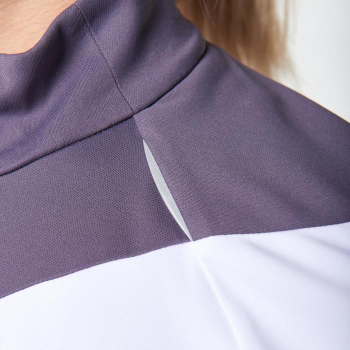 Tee shirt manches longues trail running blanc jaune femme - 1078514