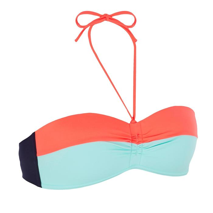 Bikini-Oberteil Bandeau Laeti angenähte Formschalen Color Block Damen