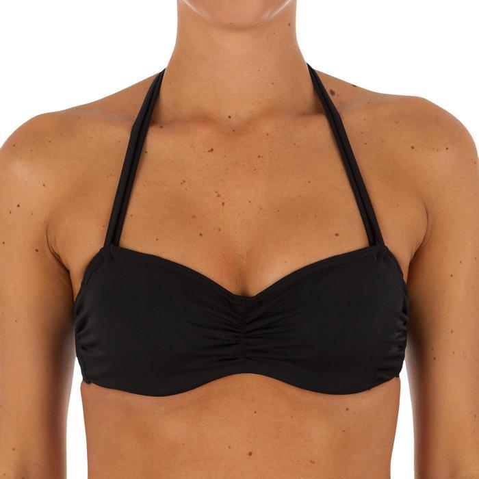 Haut de maillot de bain femme bandeau armatures noir avec lien cou amovible