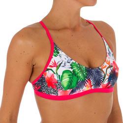 Dames bikinitopje Agatha Facet met voorgevormde cups, voor surfen