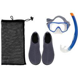 Aquashoes Snorkelling Set - Blue Grey