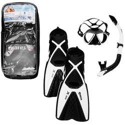 Snorkelset X-One (snorkelvinnen, duikbril, snorkel) zwart/wit