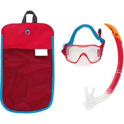 Kit máscara tubo de apnea freediving FRD120 rojo turquesa para adultos