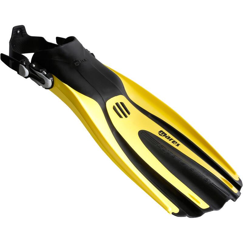 Duikvinnen voor diepzeeduiken Avanti Tre Superchannel ABS open hiel geel/zwart