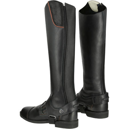 Training 700 Adult Leather Horse Riding Half Chaps - Black