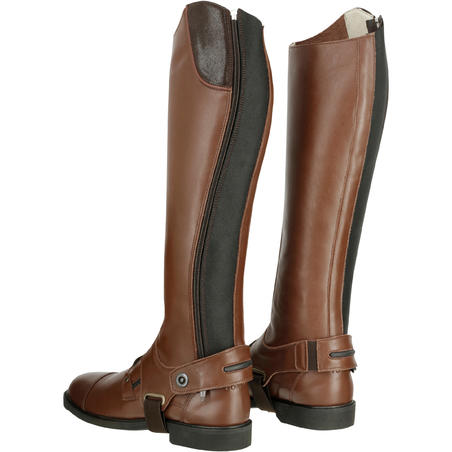 Training 700 Adult Leather Horse Riding Half Chaps - Brown
