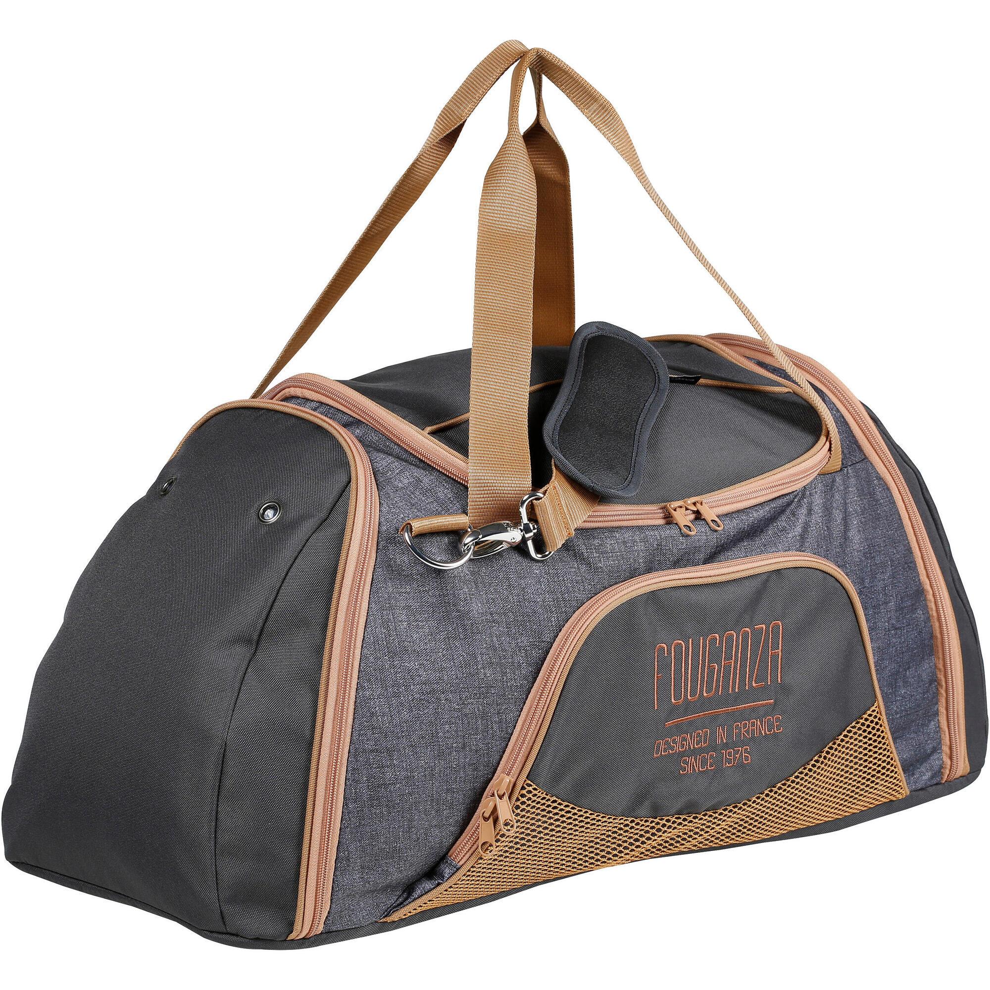 Grand sac de transport mat riel quitation gris chin et - Sac de voyage a roulette decathlon ...