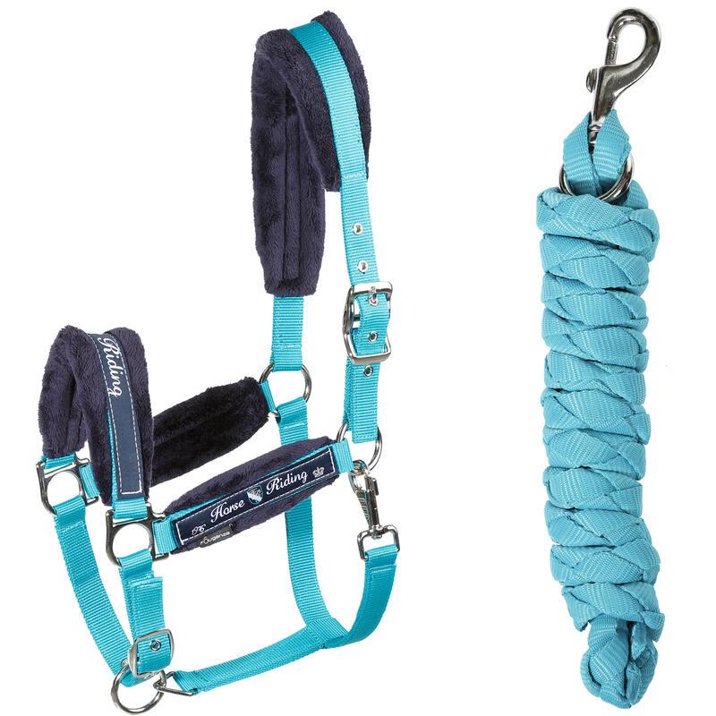 Cabezada + cuerda equitación poni y caballo WINER azul turquesa