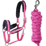 Almartigón + rienda de equitación para poni y caballo WINER rosa