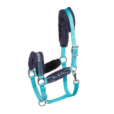 רכיבה - סט ראשיה וחבל הובלה Winner לסוסים או סוסי פוני - כחול טורקיז