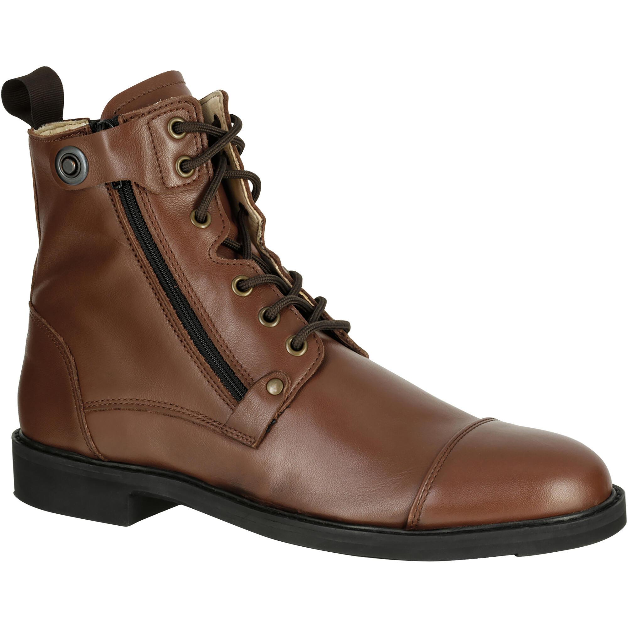 boots équitation adulte training lacet 700 marron | fouganza