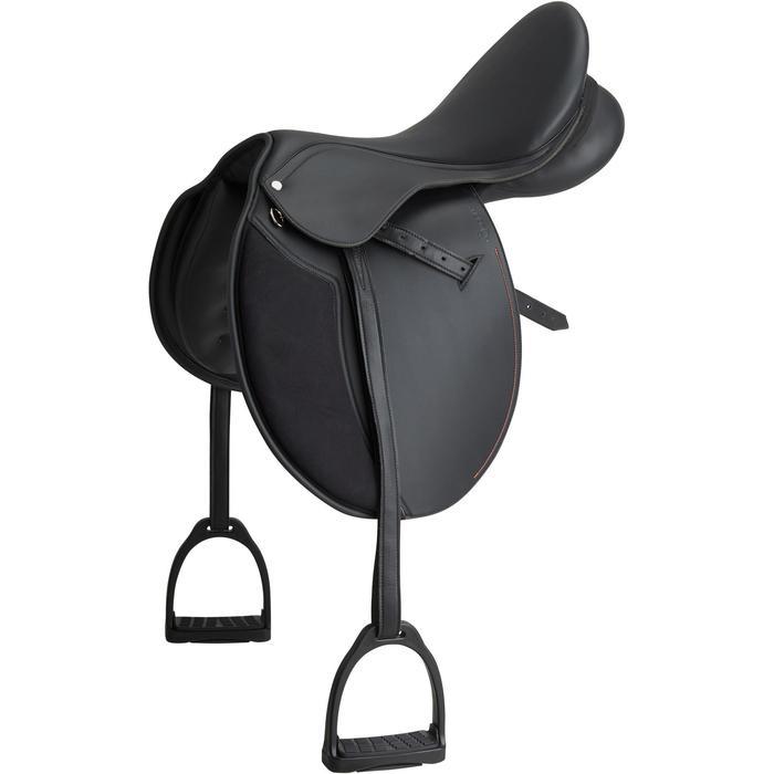 """Selle polyvalente synthétique équipée équitation cheval SYNTHIA noir 17""""5"""