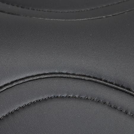 """Silla polivalente de equitación sintética equipada caballo SYNTHIA negro 17""""5"""