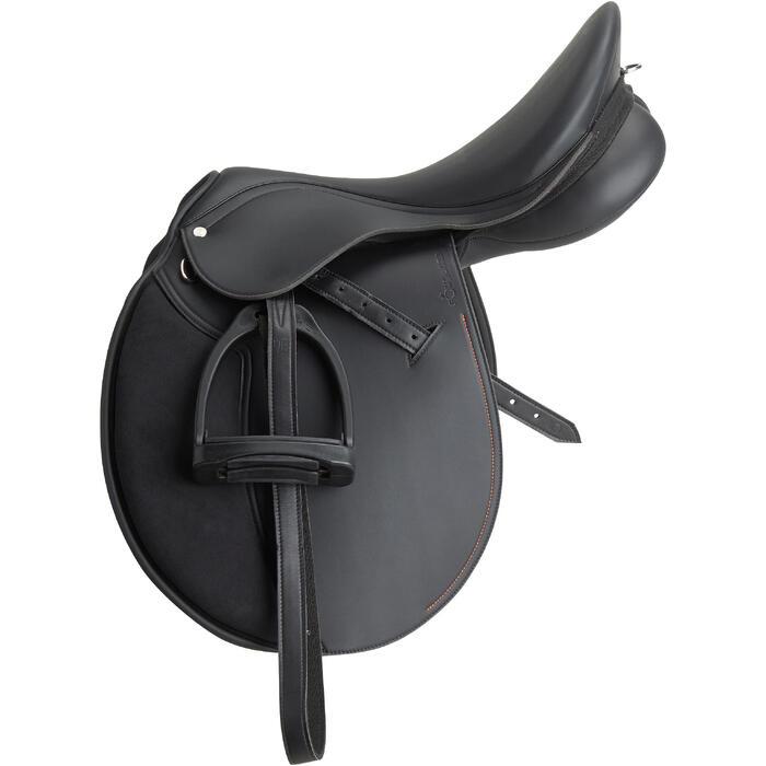 """Silla Equitación Fouganza Synthia Caballo Negro 15"""" Polivalente Sintética"""