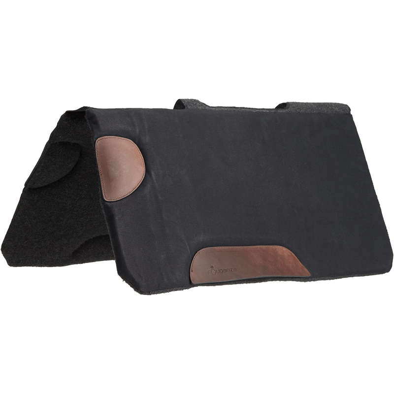 TRAIL RIDING HORSE EQUIPEMENT Horse Riding - Escape Saddle Cloth - Black FOUGANZA - Saddlery and Tack