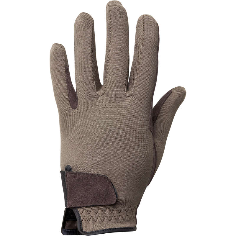 KID RIDING GLOVES Clothing  Accessories - Basic Kids' Gloves - Brown FOUGANZA - Accessories