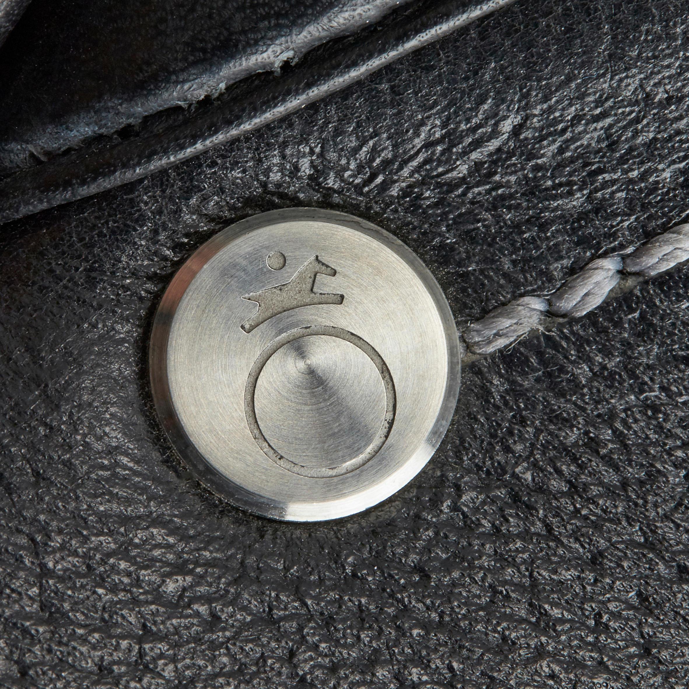 Selle mixte en cuir équipée équitation cheval SCHOOLING noir 17,5_QUOTE_
