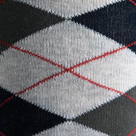 Calcetines equitación adulto ROMBOS Azul marino, Rojo y Gris moteado x 2 pares