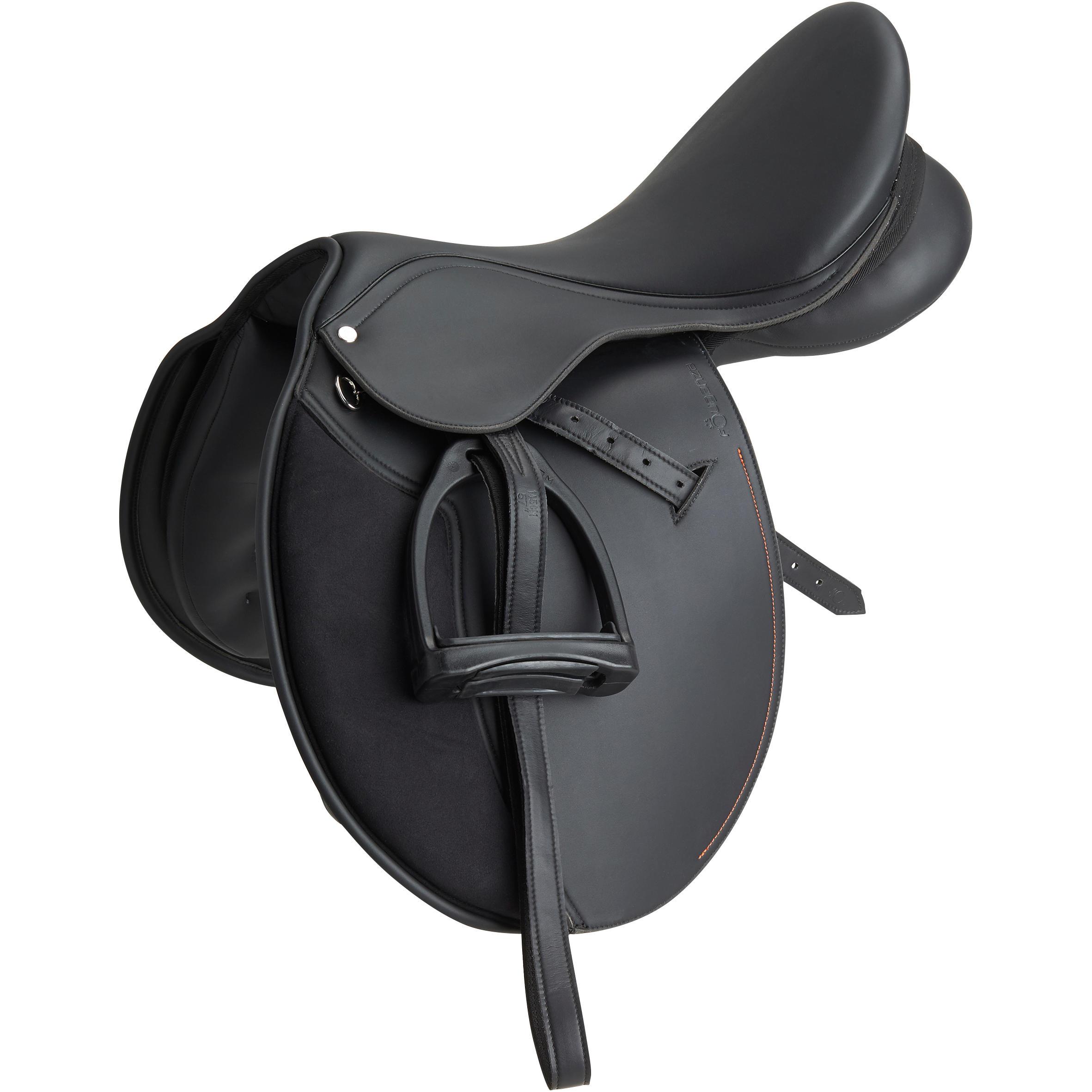 Silla mixta sintética equipada para equitación a caballo SYNTHIA negro 17