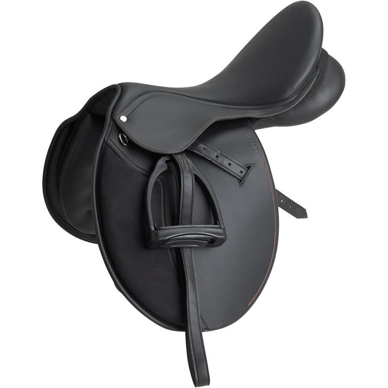 """Selle polyvalente synthétique équipée équitation cheval poney SYNTHIA noir 16""""5"""